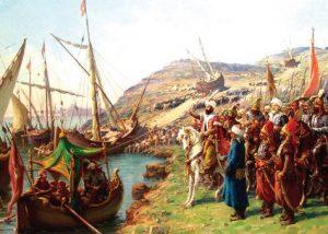 İstanbul'un Fethinde Gemilerin Karadan Yürütülmesi (Temsili)
