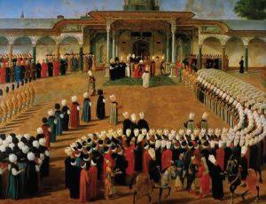 III. Selim'in tahta çıkış töreni, Topkapı Sarayı, İstanbul, Konstantin Kapıdağlı'nın eseri