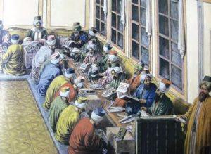 Kalemiye sınıfı memurları çalışırken, temsilî resim