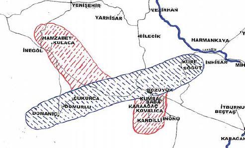 Kulaca'nın fethiyle genişleyen arazi. Aşağıda kırmızı ile gösterilen yerler Kumral Baba vakıf köyleridir.