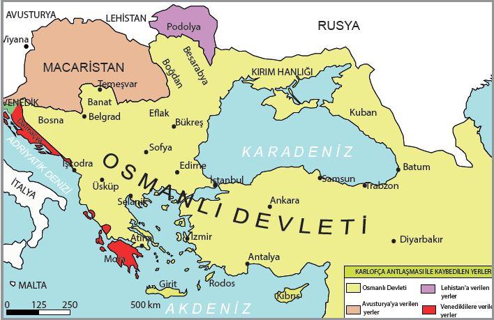 Karlofça Antlaşması ile değişen Osmanlı Devleti sınırları (1699)