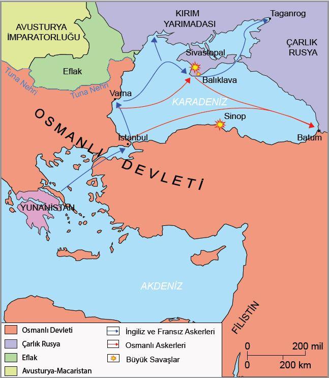 Kırım Savaşı haritası (1853-1856)