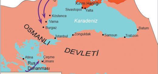 1768-1774 Osmanlı-Rus savaşını gösteren harita