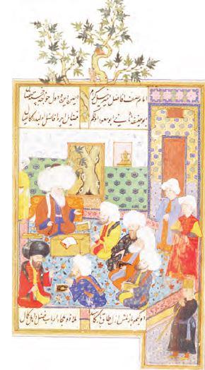 Ebu's-Suud Efendi medresede ders ortamında (Minyatür)