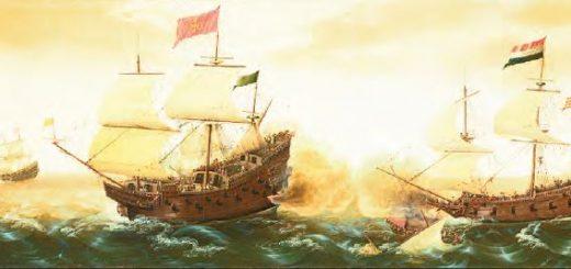 İngiliz ve Hollandalıların İspanya ile deniz mücadeleleri (Temsilî)