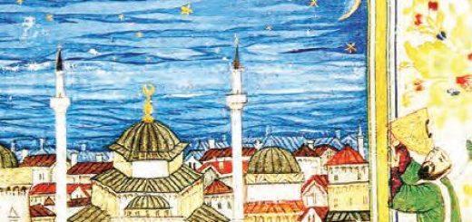 İstanbul üzerinde kadranla yıldızları inceleyen astronom (Minyatür)