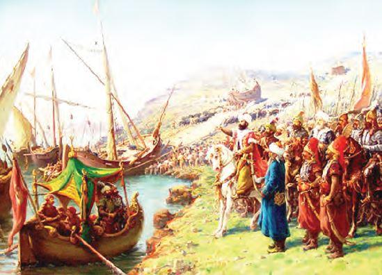 Osmanlı gemilerinin karadan yürütülmesi (Temsilî)