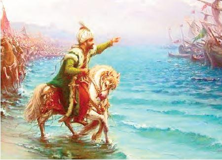 Sultan II. Mehmet'in atını denize sürmesi (Temsilî)