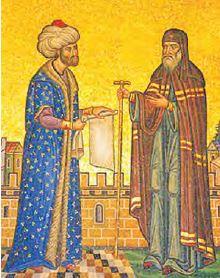 Fatih'in Rum Patriği'ne Âmanname vermesi (Mozaik)