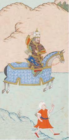 Şehzade ok atma eğitimi alırken (Minyatür)