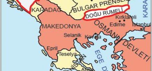 Berlin Antlaşması'na göre Osmanlı sınırları (1878)