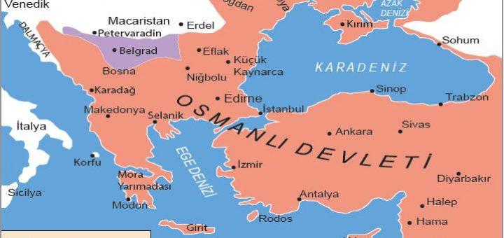 Pasarofça Antlaşması'na göre Osmanlı Devleti sınırları (1718)