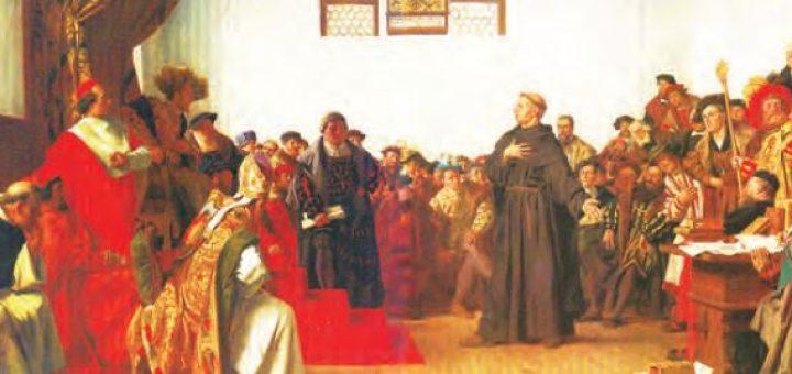 Martin Luther ile İmparator Şarlken'in tartışması (Temsilî)